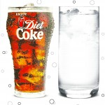 Photo of Diet Coke in a Coca-Cola shaped glass